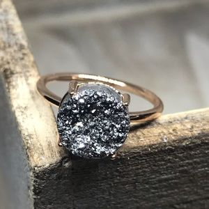 Jewelry - Rose Gold Silver Druzy Ring New